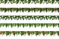 Placez des branches d'arbre de Noël sur le fond blanc comme frontière photographie stock libre de droits