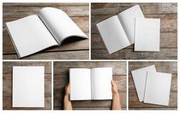 Placez des brochures vides sur le fond en bois images stock