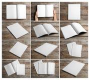 Placez des brochures vides sur le fond en bois photographie stock libre de droits
