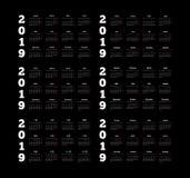 Placez des calendriers simples de 2019 ans sur différentes langues anglais, allemand, russe, français, espagnol et chinois sur l' illustration libre de droits