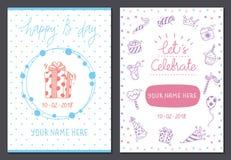 Placez des calibres mignons de carte d'anniversaire illustration libre de droits