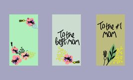 Placez des calibres sociaux d'histoires de m?dias Fond floral dans le style scandinave salutations Main-en lettres de jour de m?r illustration libre de droits