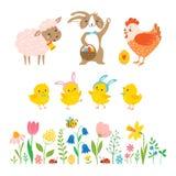 Placez des caractères de Pâques et des éléments mignons de conception illustration de vecteur