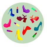 placez des chaussures et des rouges à lèvres multicolores dans des talons hauts sur un symbolisme foncé de fond de la féminité et illustration de vecteur