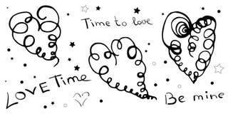Placez des coeurs et des lettres tirés par la main Coeurs en spirale sur le CCB blanc illustration stock