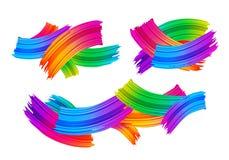 Placez des collages avec les courses colorées de brosse illustration libre de droits