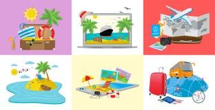 Placez des concepts de voyage, illustration isométrique du vecteur 3d illustration stock