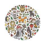 Placez des créatures mignonnes de forêt Animaux sauvages et créatures de conte de fées Griffonnages tirés par la main Éléments de illustration stock