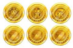 Placez des cryptos pièces de monnaie d'or, le dos de bitcoin ou de titan et la partie antérieure Illustration de vecteur d'isolem illustration libre de droits