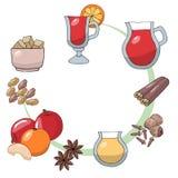 Placez des dessins de croquis Ingrédients pour le vin chauffé Orange de vin chaud, entrain, noix de muscade, bâton de cannelle, c illustration stock
