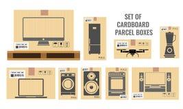 Placez des différentes boîtes en carton avec différentes tailles réelles et des divers équipements de ménage et d'ustensile Vecte illustration de vecteur