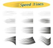 Placez des différentes options de vecteur des traits horizontaux simples de la vitesse, mouvement, couleur noire Éléments de conc illustration de vecteur