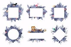 Placez des différents calibres tropicaux avec les fleurs, le flamant, le tigre et les palmettes exotiques illustration stock
