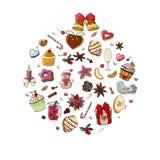 Placez des divers desserts et boissons traditionnels d'hiver Calibre pour la saison et la conception de Noël, cartes de voeux, in illustration libre de droits