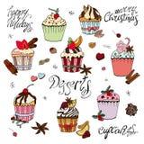 Placez des divers desserts traditionnels d'hiver Calibre pour la saison et la conception de Noël, les cartes de voeux, les invita illustration de vecteur