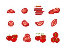 Placez des diverses tomates d'isolement sur le fond blanc Fruit entier, coupé en tranches, quart, demi de tomate Illustration de  illustration stock