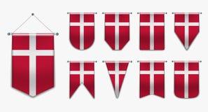 Placez des drapeaux accrochants du DANEMARK avec la texture de textile Formes de diversité du pays de drapeau national vertical illustration de vecteur