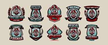 Placez des emblèmes, des icônes, des logos, du corps de sapeurs-pompiers, du sapeur-pompier, du casque et du masque colorés, illu illustration libre de droits