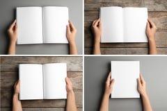 Placez des femmes tenant les brochures vides sur le fond de couleur images stock