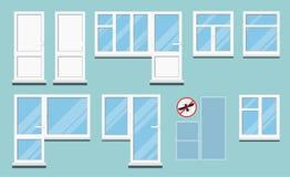 Placez des fenêtres en plastique blanches d'isolement de pièce de PVC avec la poignée illustration libre de droits