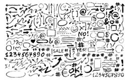 Placez des flèches tirées par la main, icônes, hashtags Symboles sociaux illustration stock