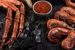Placez des fruits de mer frais photographie stock