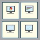 Placez des icônes avec des moniteurs d'ordinateur avec les diagrammes analytiques de graphiques pour le rapport, rapport de gesti illustration stock
