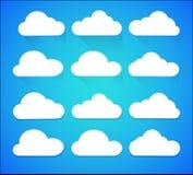 Placez des icônes blanches de nuage d'isolement sur le fond illustration libre de droits