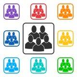 Placez des icônes carrées de groupe avec 5 peuples illustration stock