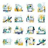 Placez des icônes d'analyse commerciale avec les diagrammes financiers de couleur de caractères de personnes illustration stock
