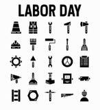 Placez des icônes de Black Vector Glyph de mineur de travailleur de Fête du travail Contient comme le travailleur, travail, mineu illustration stock