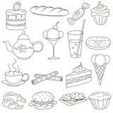 Placez des icônes de griffonnage d'ensemble pour le thé photo libre de droits