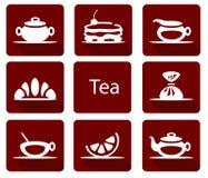 Placez des icônes de thé avec le croissant de gâteau de citron de sucrerie illustration stock