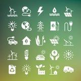 Placez des icônes de vecteur d'eco dans le style plat d'isolement sur le fond foncé illustration de vecteur