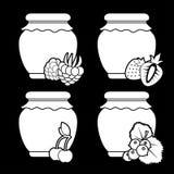 Placez des icônes monochromes blanches de la confiture de baie sur un fond noir Objets de vecteur illustration stock