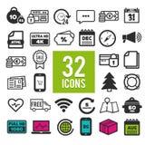 Placez des icônes plates pour le Web et le design de l'interface : achats, voyage, finances, affaires, communication, milieu, illustration stock