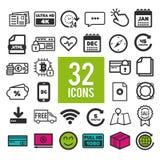 Placez des icônes plates pour le Web, les applis mobiles et le design de l'interface : communication d'achats de finances de voya illustration de vecteur
