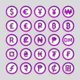 Placez des icônes pour des pays de symbole monétaire dans le monde illustration de vecteur