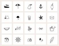 Placez des ic?nes tir?es par la main de Web de griffonnage Sch?ma ?t?, vacances, concept de voyage Conception noire et blanche Ve images libres de droits