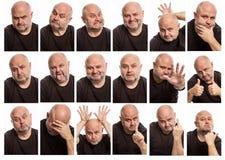 Placez des images d'un homme chauve avec différentes émotions images stock