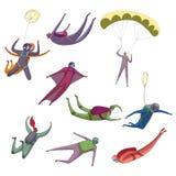 Placez des images du parachutiste différent Illustration de vecteur sur le fond blanc illustration de vecteur