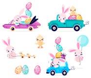 Placez des lapins mignons de Pâques avec des oeufs de pâques et du poulet Transport avec le lapin de Pâques photo libre de droits