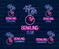 Placez des logos au néon dans des couleurs rose-bleues Collection de 5 illustrations pour le bowling tropical pour le tournoi, dé illustration de vecteur