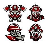Placez des logos colorés corps de sapeurs-pompiers, pompier, crâne, sapeur-pompier de masque, haches, illustration d'isolement de illustration stock