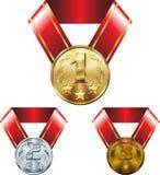 Placez des médailles, de l'argent d'or et du bronze, sur des rubans illustration libre de droits