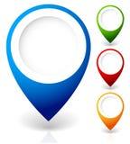 Placez des marqueurs de carte de vecteur, avec de diverses couleurs images libres de droits