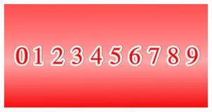 Placez des nombres de police de zéro à neuf, éléments de conception de l'icône 3d d'isolement sur le fond rouge vecteur d'illustr illustration stock