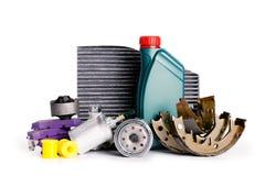 Placez des nouvelles diverses pièces de voiture nécessaires pour le service de véhicule image stock
