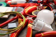 Placez des outils de l'électricien photo stock