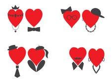 Placez des paires de coeurs masculins et femelles illustration stock